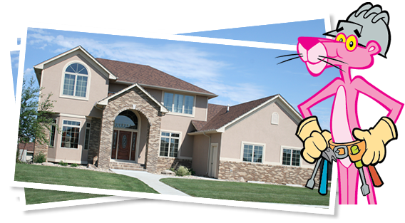 Pink Panther standing by home picture